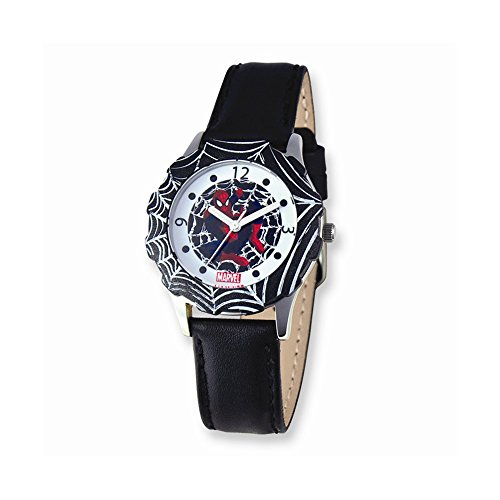 Marvel Spiderman Black Leather Band Tween Watch: Length 7 in