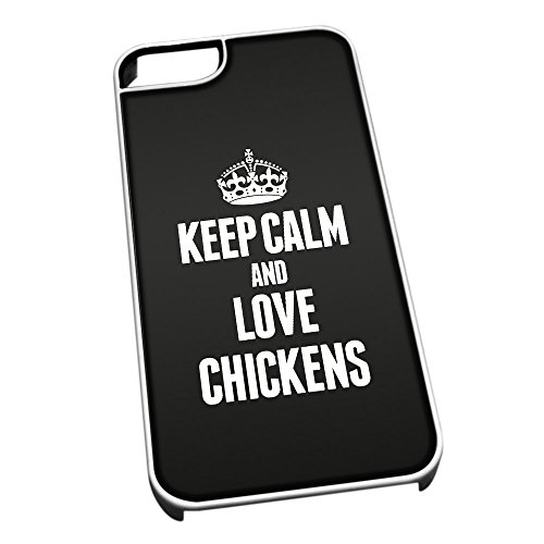 Bianco cover per iPhone 5/5S 2408 nero Keep Calm and Love polli