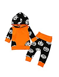 DRAGONHOO Newborn Kids Baby Girls Halloween Outfits Clothes Print Hooded T-Shirt+Pants Set Little Girl Clothes