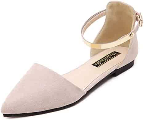 39c4a90164a Dejian Womens Casual Slip On Flats D Orsay Buckle Comfort Pointy Toe  Ballerina Ballet Flats