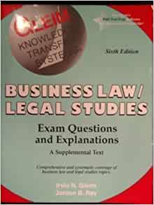 Business Law Exam Questions  College Paper Example   Words  Business Law Exam Questions