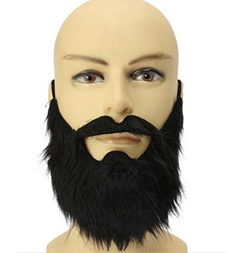 micrkrowen Halloween party cosplay black Wacky false Big beard (Scary Halloween Costumes With Beards)