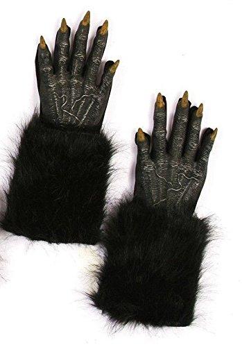 Werewolf Black Furry Hands (Werewolf Costume Gloves)
