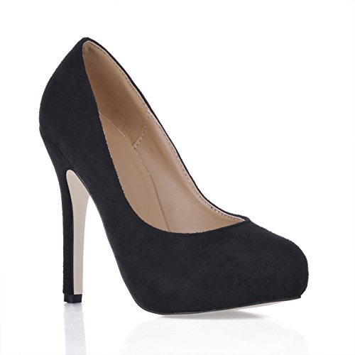 Single women new minimalist in OL round head lady's shoe black satin larger temperament CD high-heel shoes Red abclS