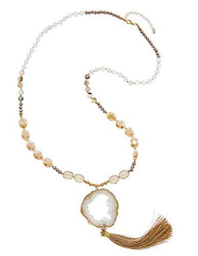 14k Gold Large Amethyst Pendant - Kevia 18k Gold Plated Geode Slice Pendant Beaded Long Druzy Tassel Necklace (Brown)