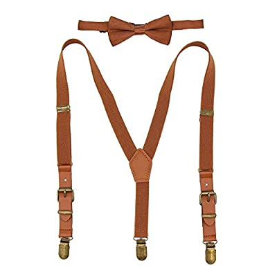 Suspenders for Kids Elastic Boys Pant Suspenders Y Back Tuxedo Braces with Brown Leather and Bronze Clips for Baby Boy