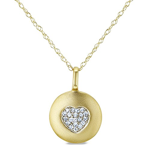 Diamond Accented Heart Tag Necklace, 10k Yellow Gold, (Yellow Gold Diamond Heart Tag)