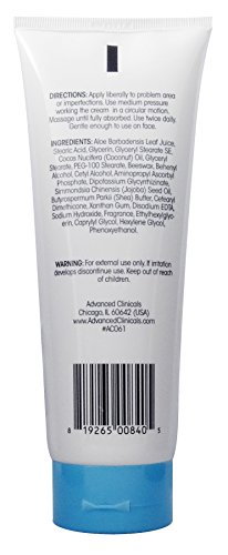 Advanced Clinicals Dark Spot Therapeutic Cream with Vitamin C. Hydroquinone Free. For Age Spots, Blotchy Skin. Face, Hands, Body. Large 8oz Tube.