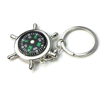 rawdah Kompass Schl/üsselanh/änger tragbar Legierung Silber Nautical Kette