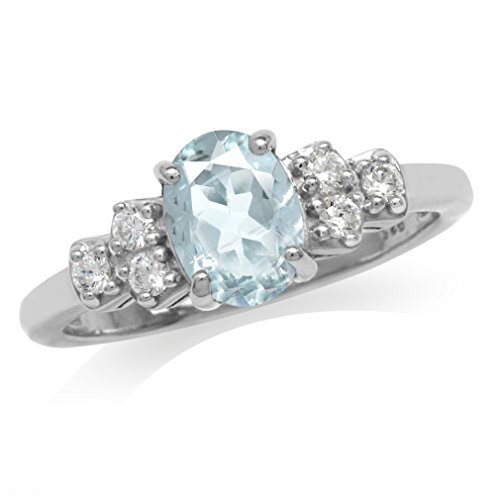 1.02ct. Genuine Blue Aquamarine & White Topaz Gold Plated 925 Sterling Silver Engagement Ring Size 6