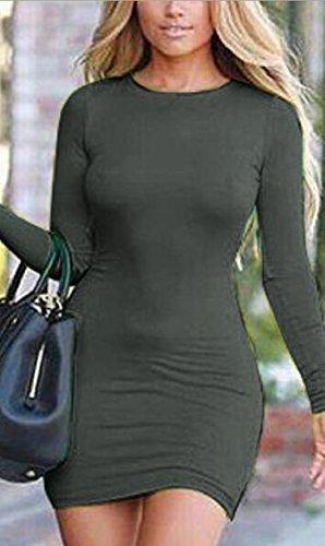 Jaycargogo Womens Sexy Manches Longues Robe Dos Nu Moulante Club Vert Foncé