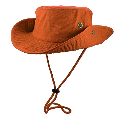 Gelante 100% Cotton Stone-Washed Safari Booney Sun Hats 1910-Orange-L/XL