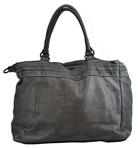 0134 Bolso mujer Gris gris para BZNA B0075 de Large hombro Cuero al ZAR7q