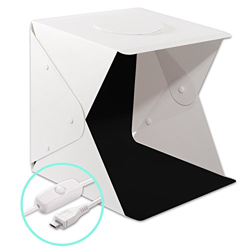 Portable Photography Studio Light Box Shooting Tent, DONWELL Folding LED Photo Studio Light Box Shooting Tent Kit with LED Light and Background (17.7x17.3x17inch) by DONWELL