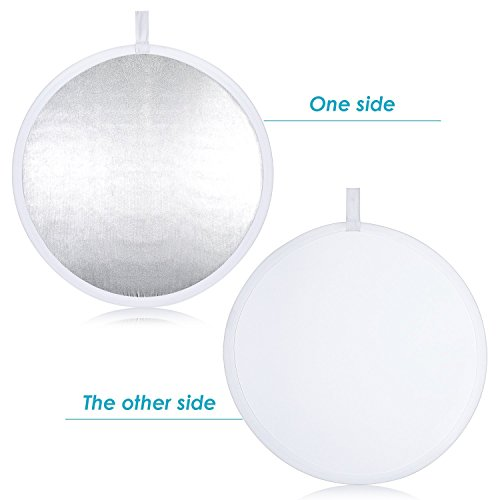 Neewer® Pro 2-in-1 32''/80cm Round Collapsible Reflector Diffuser White/Silver for Photography and Video Shooting with A Carrying Pouch by Neewer