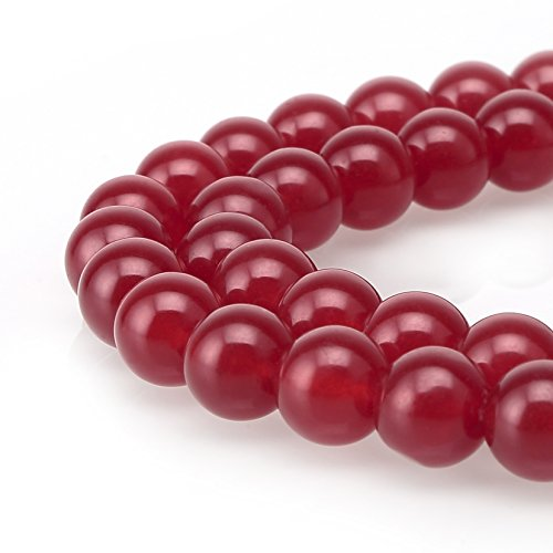 (BRCbeads Jade Gemstone Loose Beads Natural Round 8mm Crystal Energy Stone Healing Power for Jewelry Making- Ruby)