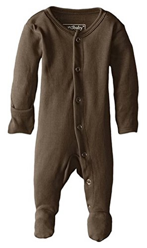 L'ovedbaby Unisex-Baby Organic Cotton Footed Overall, Bark, 0/3 Months -