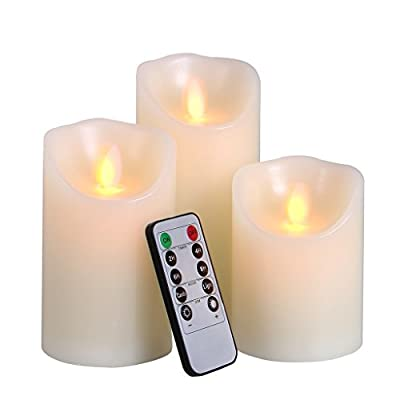 Big House 3pcs Flameless Candle Set Battery Operated with Timer Remote Control Real Wax Flicker Pillar Votive Candle Lights for Christmas Decorations