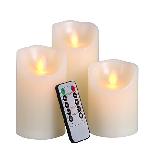 Big House Flickering Flameless Candles with Timer Remote Control 4 5 6 Inch set of 3 Real Wax Pillar Battery Operated LED Candle by BIG HOUSE