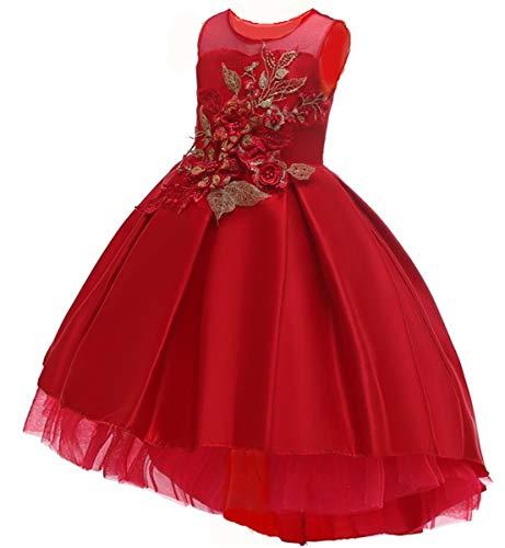 (M-Sea Flower Big Little Girls Formal Party Dress Kids Wedding Bridesmaid Pageant Birthday Toddler PrincesshHoliday)