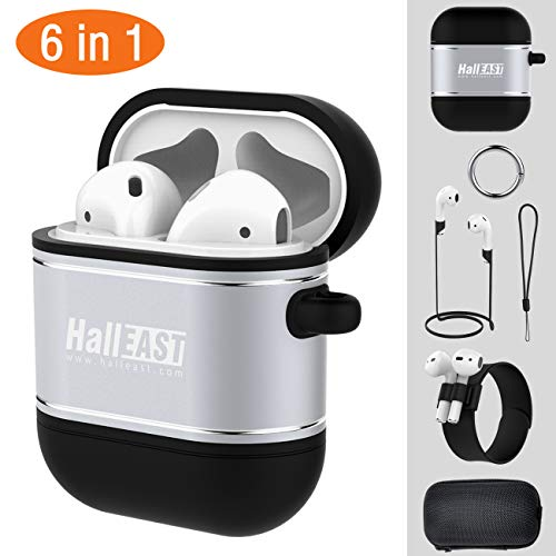 (HALLEAST AirPods Case, Air Pods Accessories Protective Cover Skin Holder Silicone Metal for Apple Airpod Charging Case with Keychain, Straps, Slap Bracelet, Hard Case, 6 in 1, Silver)