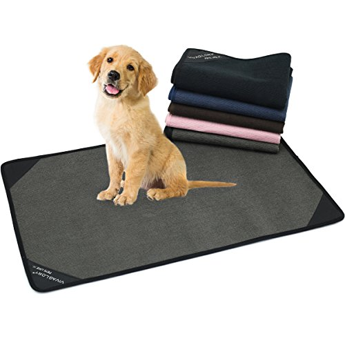 "Pee Pads, Reusable & Washable Dog Training Pad, Ultra Absorbent & Waterproof Underpads for Housebreaking Travel, 28.5"" x 17.9"", Green Grey (Puppy Mat)"