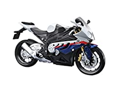 BMW S1000 RR [Kit] in White and Blue (1:12 scale by Maisto 39191) This BMW S1000 RR Diecast Model Motorcycle Kit is White and Blue and features working stand, steering, wheels. This model kit made by Maisto requires assembly and is 1:12 scale...