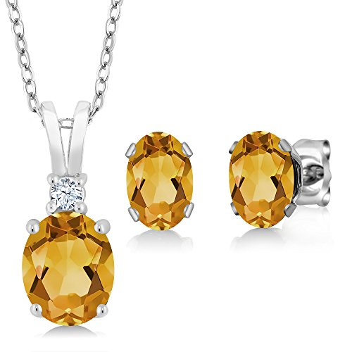 Citrine Pendant Set - Gem Stone King Yellow Citrine 925 Sterling Silver Pendant Earrings Set 2.50 Cttw Oval with 18 Inch Silver Chain