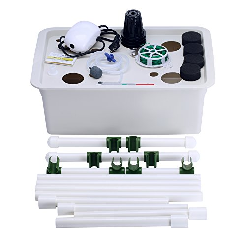 41zOAWIaeKL - Indoor Hydroponics Grower Kit, Pathonor 11 Pod 3.5 gal Non-transparent DIY Educational DWC Self Watering Hydroponics Tools Plant Cloner Kit Include Aquarium Air Pump, Buoy, Planting Baskets etc