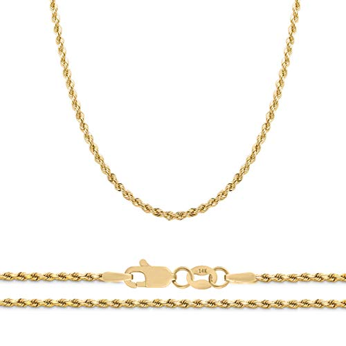 Orostar 14K Yellow Gold 2mm Diamond Cut Rope Chain Necklace, 16