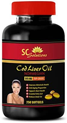 Eye Care Supplements - Norwegian COD Liver Oil - Cod Liver Oil Soy-Free - 1 Bottle 250 Softgels