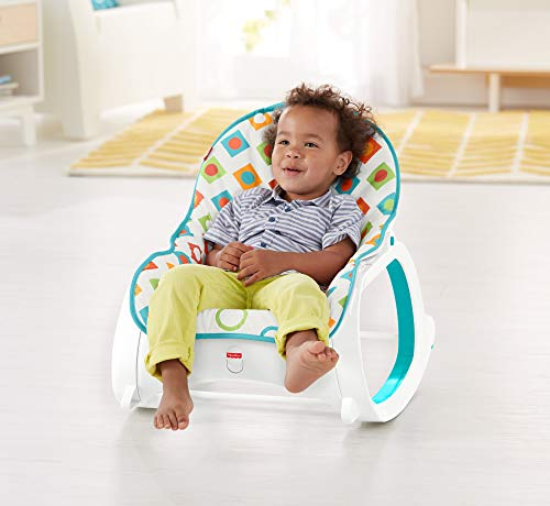Fisher-Price Original Infant to Toddler Baby Rocker Geo Diamonds Theme – Foldable, Portable.