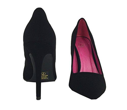 Cindy! Da Donna Stile Classico Sfilata Tacco Alto Stiletto A Punta Slip On Dress Pumps In Nabuk Nero Similpelle