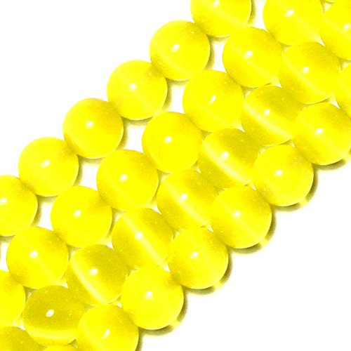 (GEM-inside 10mm Round Yellow Cat Eye Beads for Jewelry Making Loose Beads Strand 14)