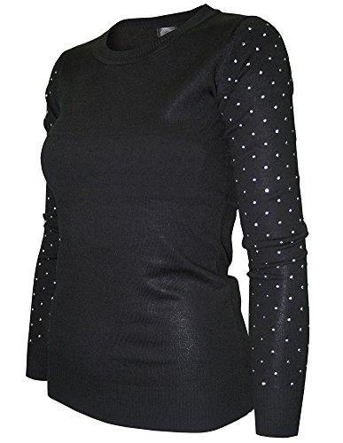 Cielo Women's Slub Rhinestone Sleeve Sweater (Large, (Rhinestone Sweater)