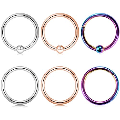 Kangyijia 3/8 Inch Rainbow Seamless Clicker Ring 16G Surgical Steel Seamless Hinged Segment Clicker Ring Hoop Lip Ear Helix