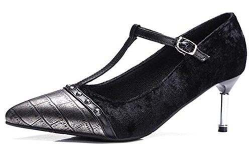 Idifu Donna Moda Scarpe A Punta Tacco Medio T-strap Mary-jane Pumps Nero