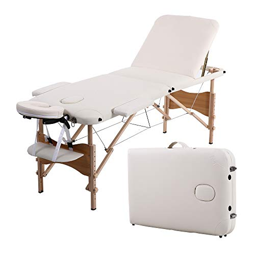 "Folding Massage Table 84"" Professional Portable 3 Fold Facial Massage Bed Salon SPA with Backrest with Carry Case White"