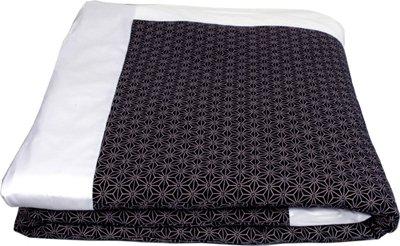 "J-Life Authentic Traditional Japanese Kakefuton (Kakebuton) Silk-Filled Comforter - Double Size (82"" x 92"") - Asa No Ha Navy #1"