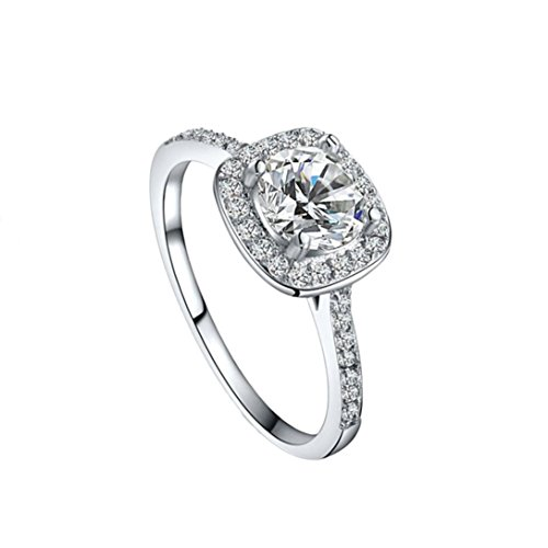 Aniywn Concise Diamond Ring Eight Love Hearts & Eight Arrows Zircon Ring (9#, Silver) from Aniywn Jewelry