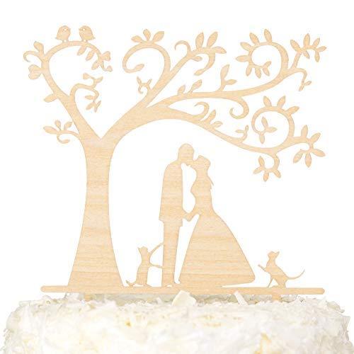 LOVENJOY - Caja de regalo - Decoración rústica para tartas de boda con dos gatos