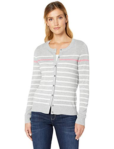 Amazon Essentials Women's Lightweight Stripe Crewneck Cardigan Sweater, Grey Stripe, Small