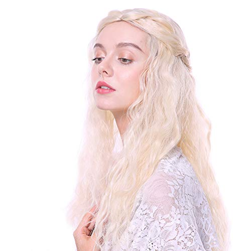 Daenerys Khaleesi Wigs for Game of Thrones Cospaly Long Blonde Curly Wig Halloween Mother of Dragons Costumes Wigs for Women