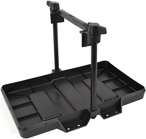 attwood 9091-5 USCG-Approved 27 Series Adjustable Hold-Down Marine Boat Battery Tray, Black ()