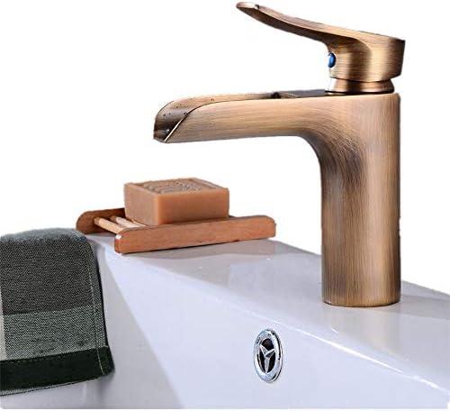 蛇口 ヨーロピアンスタイルのキッチン蛇口レトロシンク温水と冷水シンクの滝の蛇口の浴室の冷温水の蛇口 キッチンとバスルームに適しています (Color : Gold, Size : As picture)