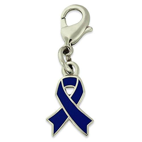 Blue Ribbon Charm - PinMart's Blue Awareness Ribbon Enamel Charm