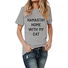 Wintialy Women Namastay Home With My Cat Letter Tees Shirt T Shirt Blouse Tops