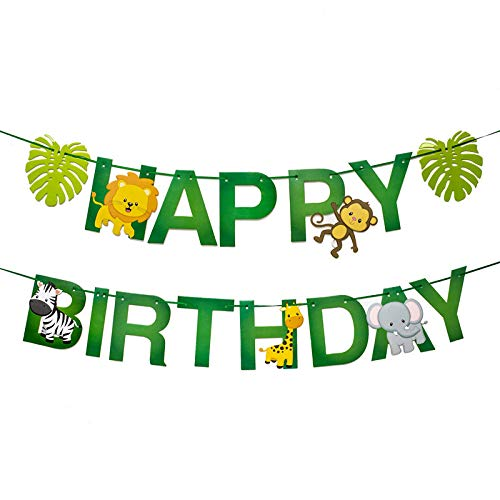 Jelacy Jungle Theme Party Supplies Happy Birthday Party Decorations,Jungle Safari Party Supplies,Jungle Animal Decorations,Jungle Animals Hanging Swirl Decorations Jungle Safari Zoo Theme Birthday Party Decorations.