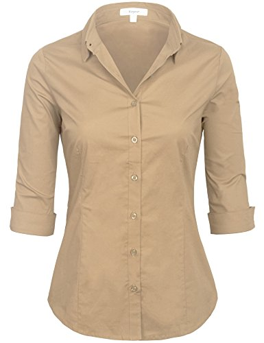 KOGMO Womens Classic Solid 3/4 Sleeve Button Down Blouse Dress Shirt - Blouse Khaki
