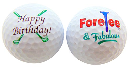 Golfers Gift Set - Happy 40th Birthday ForeTee & Fabulous Set of 2 Golf Ball Golfer Gift Pack